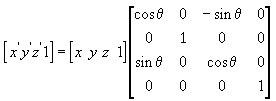 Матрица вращения остосительно оси Y